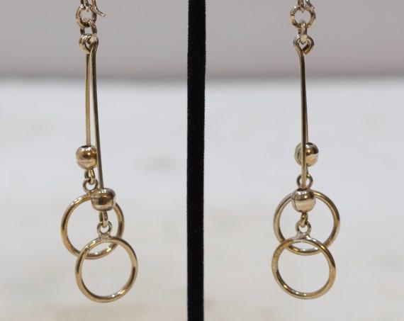 Earrings Sterling Silver Dangle Double Circle Earrings 74mm