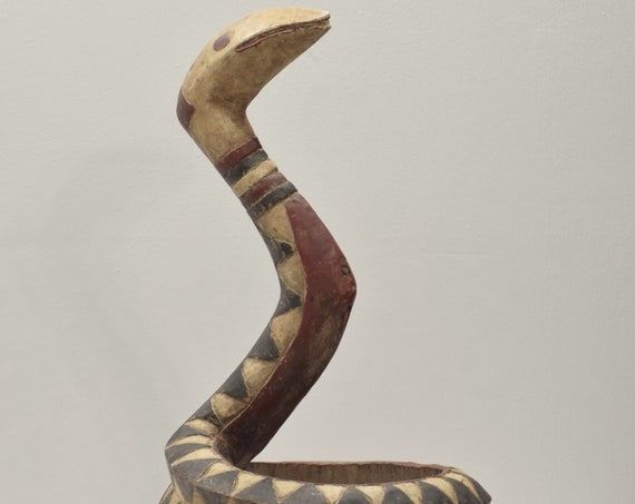 African Baga Snake Coiled Statue