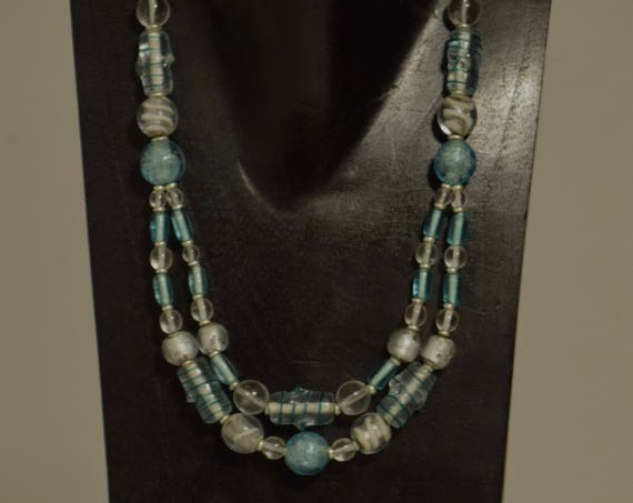 Necklace Double Strand Light Blue Czech Glass Opalesent Glass Handmade Blue Round Beads Tubes Silver Opalescent Beaded Necklace