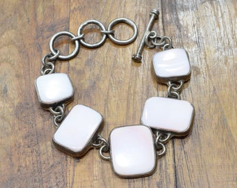 Bracelet Silver Sterling Pink Shell Toggle Bracelet