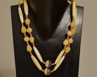 Necklace Double Strand Buri Nut Soapstone Resin Coconut Heishi Beaded Handmade Soapstone Jewelry Necklace