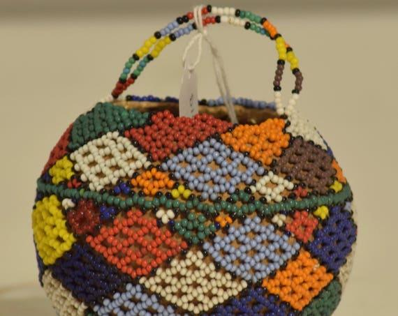 Basket African Zulu Beaded Monkey Fruit Gourd South Africa Handmade Beaded Medicines Magic Pot Zulu Gourd