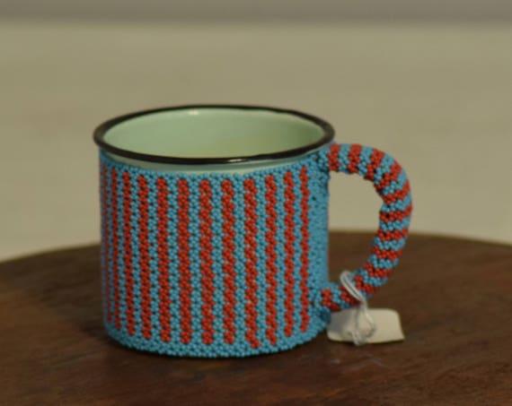 African Cup Meg Enamel Blue Red Beaded Mug Zulu Beaded Cup