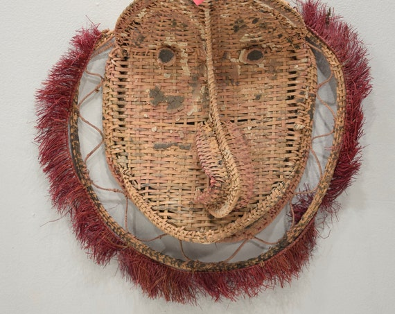 Papua New Guinea Mask Gable Woven Rattan Black Water Lake Mens House Ceremonial Mask