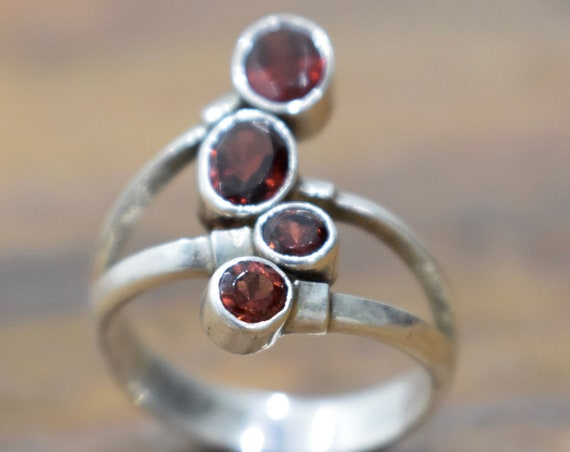 Ring Sterling Silver Cascading Garnet Stone Ring