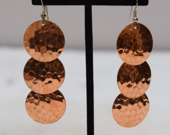 Earrings Plated Copper Hammered 3 Tier Dangle Earrings 75mm