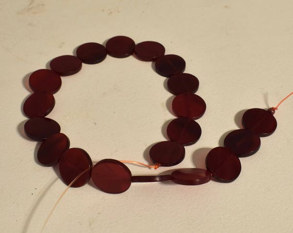 Beads Indonesian 20 Red Flat Disc Beads Necklace Jewelry Earrings Bracelets Red Horn Beads