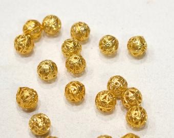 Beads Bright Brass Filigree Round Beads 8mm