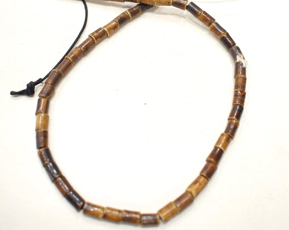 Beads Indonesian Brown Horn Tube Beads  9-10mm