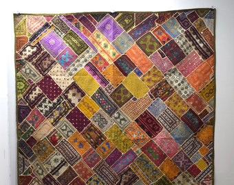Embroidered Patchwork Throw Cover Wall Art Hand Emboridered Throw Cover