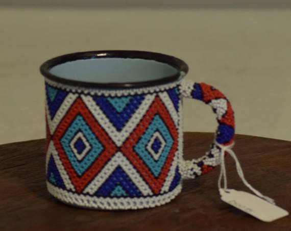 African Vintage Enamel Blue Red White Beaded Mug Handmade Zulu Mug Coffee Tea Red Blue White Drinking Beaded Cup