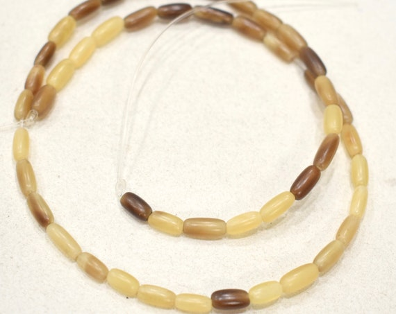 Beads Indonesian Brown Horn Oval Beads  8-10mm