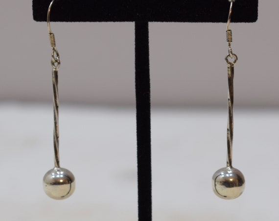 Earrings Sterling Silver Long Ball Dangle Earrings 55mm