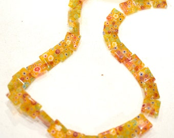 Beads Mosaic Yellow Resin Chicklet Beads 13mm