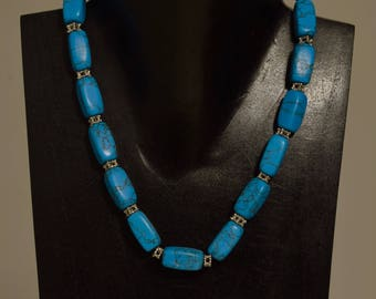 Necklace Stabilized Turquoise Silver Beaded Handmade Turquoise Necklace Jewelry