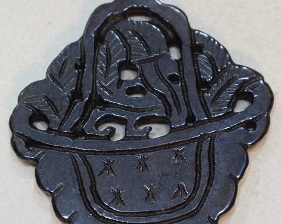 Beads Chinese Serpentine Dark Brown Flower Basket Pendant Vintage 54mm