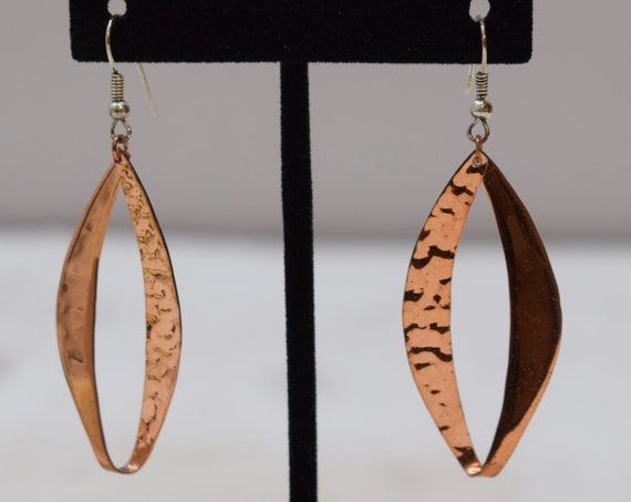 Earrings Plated Copper Hammered Oval Dangle Earrings 60mm