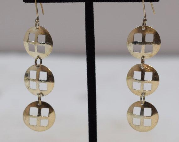 Earrings Sterling Silver Long Round Square Dangle Earrings 60mm