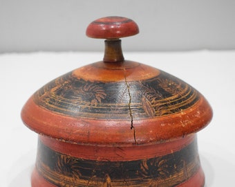 Spice Box Middle Eastern Rosewood Painted Lacquered Round Rosewood Spice Box