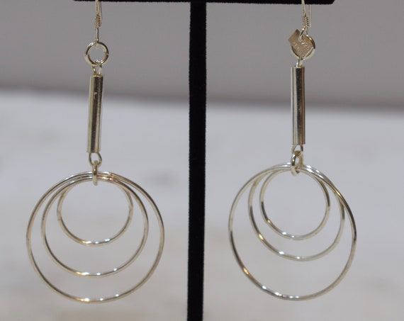 Earrings Sterling Silver Long Triple Hoop Dangle Earrings 80mm