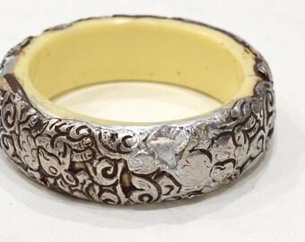 Bracelet Tibetan Silver Floral Bangle Bracelet