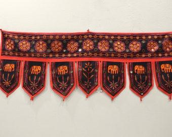 India Toran Handmade Embroidered Mirror Doorway Fabric Cover