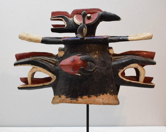 Africa Firespitter Mask Senufo Tribe Janus Buffalo Helmet Mask Carved Birds Goli Masks