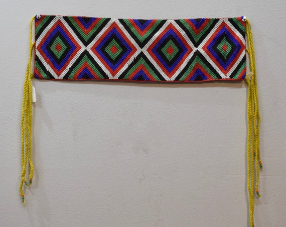 African Zulu Old Beaded Waist Apron Panel South African Beaded Apron Panel