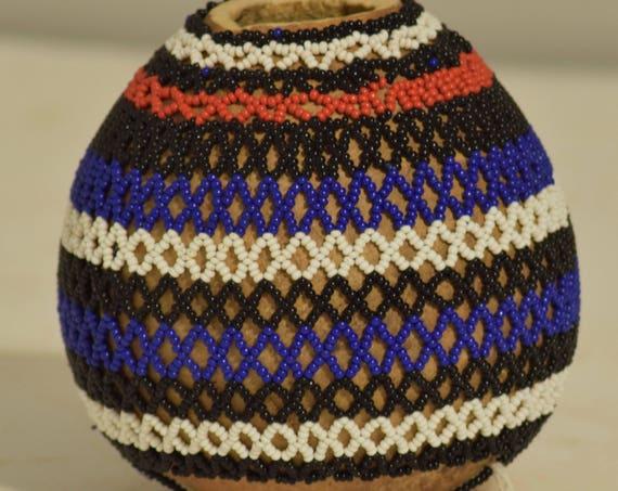 Snuff African Zulu Beaded Snuff Monkey Fruit Gourd South Africa Handmade Beaded Medicines Magic Pot Zulu Gourd