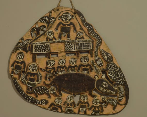 """Papua New Guinea Story Board Wood Kambot Village Life Storyboard 32"""""""