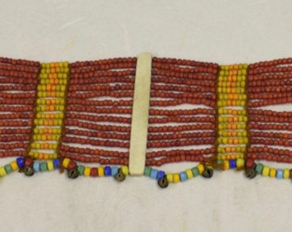 Beaded Belt Sash Womans Naga Konyak Tribe Brass Bells Handmade Red Tan Orange Beads Tribal  Status Ornamental Ceremonial Unique
