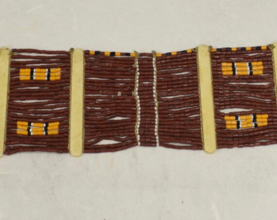 Beaded Belt Sash Womans Naga Konyak Tribe Handmade Black Rust Brown Beads Tribal  Status Ornamental Ceremonial Unique