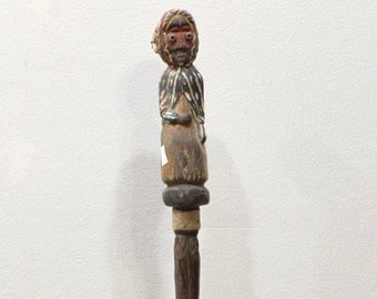 African Staff Baule Tribe Carved Male Figure Walking Staff
