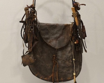 African Old Tribal Leather Hunter and Gathers Bag
