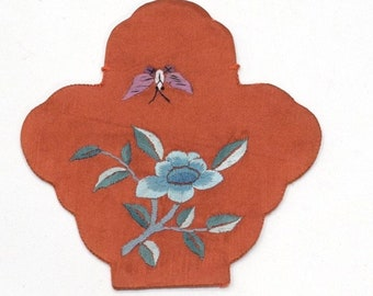 Pouch Chinese Silk Embroidered Flower Bag