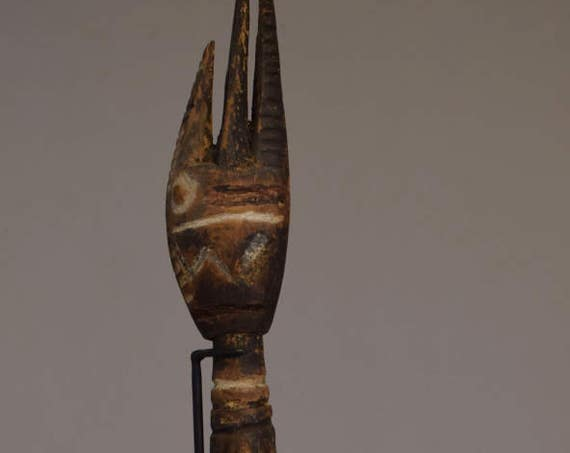 Papua New Guinea Garamut Drum Beater April River Wood Cassowary Bird Head Tribal Drum Beater