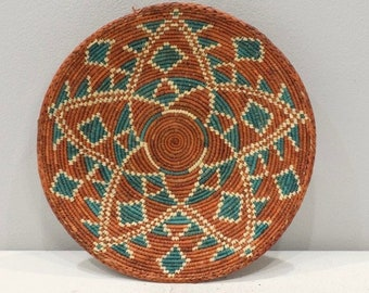 SOLD African Basket Botswana Natural Colors South Africa Woven Palm Food Basket SOLD