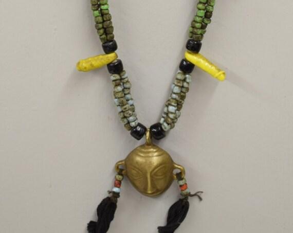 Naga Necklace Brass Head Pendant India Handmade Orange Blue Lime Green Yellow Beads Chevron Glass Beads Trophy Naga Brass Head Necklace