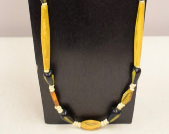 Necklace Vintage Africa Black Yellow Beads Etched Yellow Tubes White Beads Handmade Tribal Black  Yellow Tubes Beads  Jewelry Necklace H