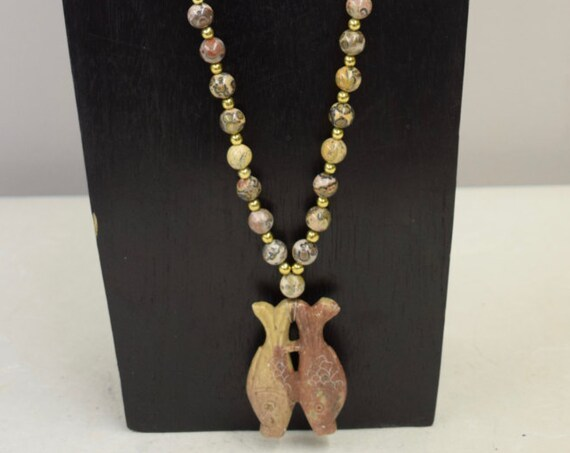Necklace Vintage Chinese Soapstone Fish Whistle Picture Jasper Beads Gold Beads Handmade Good Luck Fish Jasper Necklace Jewelry B