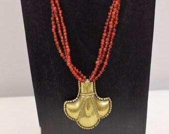 Necklace 3 Strand Brass Tibetan Pendant Red Glass Brass Necklace Handmade Jewelry Red Glass Brass Tibet Women Beads Unique Statement H