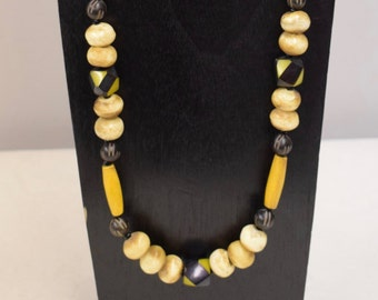 Necklace Vintage Africa Black Yellow Beads Etched Buri Nuts Yellow Tubes Handmade Tribal Black Yellow Tubes Beads  Jewelry Necklace H