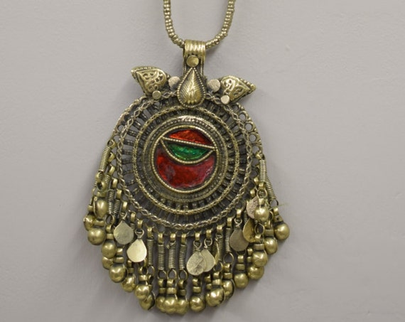 Necklace Pendant Middle Eastern Silver Kuchi Chain Red Green Foil Paper Glass Handmade Jewelry Belly Dancing Kuchi Dangle Pendant