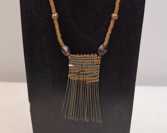 Necklace Vintage African Karamomjong Comb Copper Heishi Glass Beads Handmade Status Comb Necklace Jewelry One of a Kind G