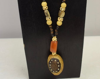 Necklace Vintage African Doum Palm Nut Philippines Beads Tree Seeds Handmade Betel Nut Buri Nut Beads Carnelian Unique One of a Kind B