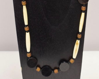 Necklace Vintage Indonesian Black White Brown Beads Glass Handmade Tribal Tubes Round Beads Bead Jewelry Necklace G