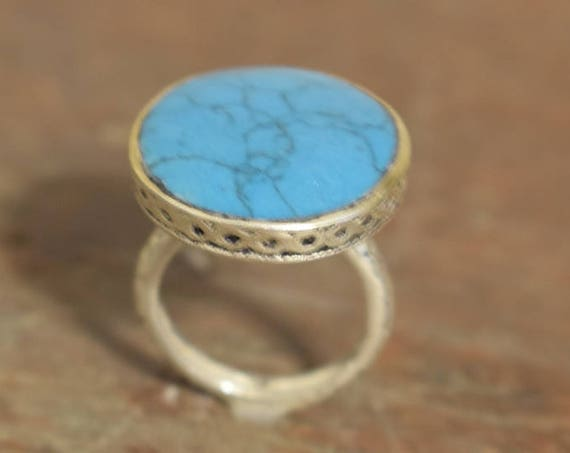 Ring Middle Eastern Silver Turquoise Handmade  Handcrafted Tribal Round Silver Unique Silver Blue Ring