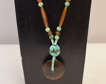 Necklace Southwest Brown  Disc Beads Tubes Chinese Turuqoise Necklace Handmade Jewelry Turquoise Beads Unique Statement H