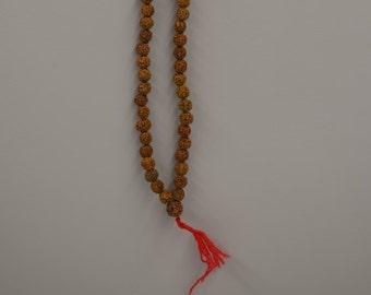 Necklace Mala Rudrasksha Prayer Beads Handmade Natural Brown Nut Beads Unique Mediation Enlightment Mala