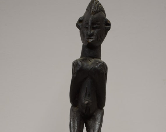 African Bowl Ceremonial Dogon Wood Mali Handmade Tribal Elders Incised Carved Wood  Fetish Figure Personal Item Box
